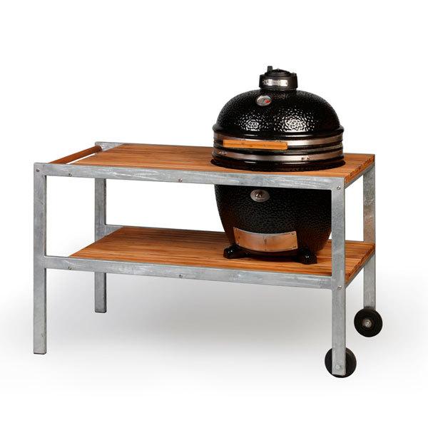 monolith keramik grill schwarz mit tisch aus teakholz 201004 s grillarena. Black Bedroom Furniture Sets. Home Design Ideas