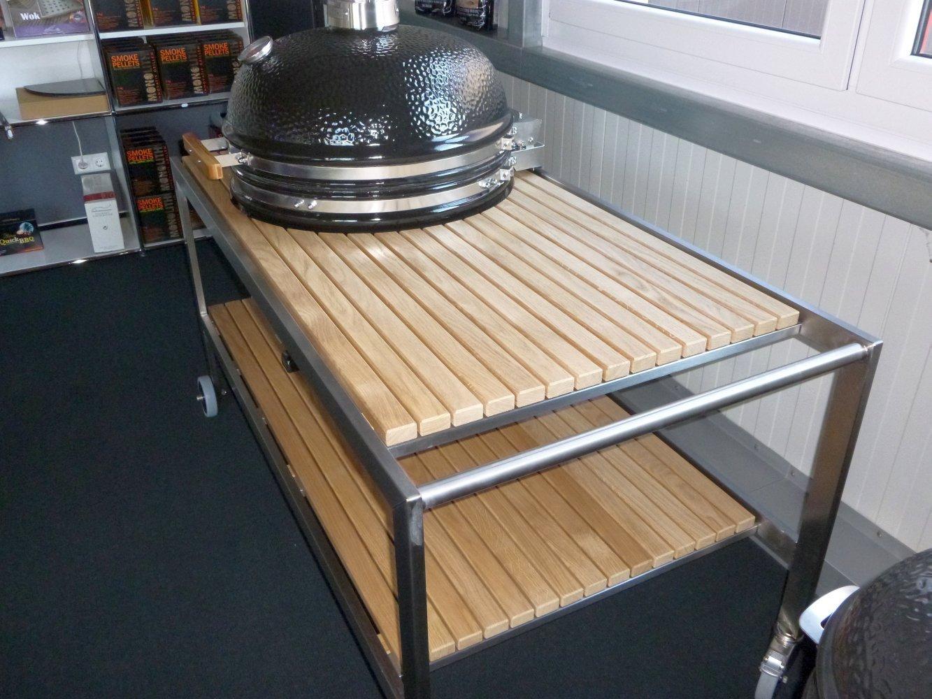 premium tisch monolith lechef mit edelstahlgestell und eichenholzbeplankung grillarena. Black Bedroom Furniture Sets. Home Design Ideas