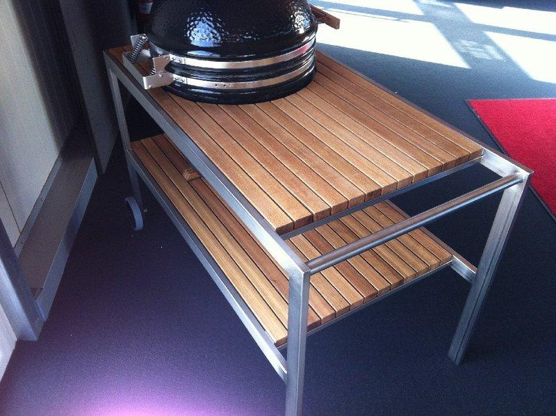 premium tisch f r monolith classic mit edelstahlgestell und eichenholzbeplankung grillarena. Black Bedroom Furniture Sets. Home Design Ideas